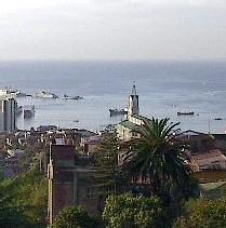 Vue de Valparaiso sur la côte chilienne