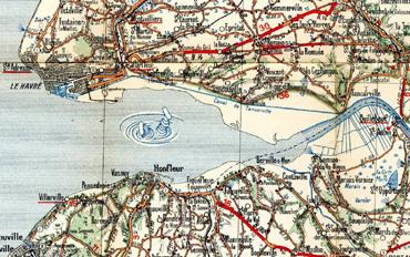 Extrait Carte Michelin Caen-Rouen 1922