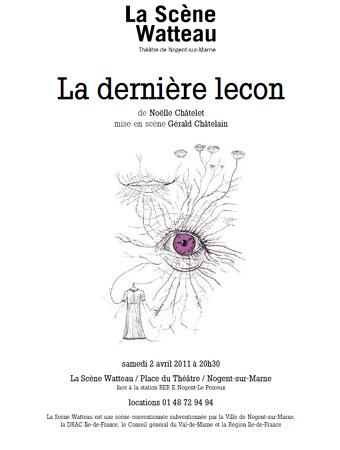 La dernière leçon de Noëlle Châtelet : en représentation à Nogent-sur-Marne le 2 avril