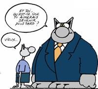 Dessin de Philippe Geluck pour la semaine Bleue : le Chat et son fils
