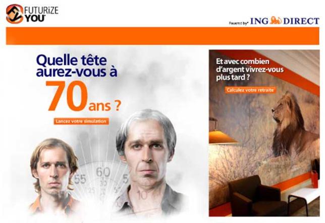 Futurizeyou.com : ING Direct lance un simulateur de vieillissement sur Internet