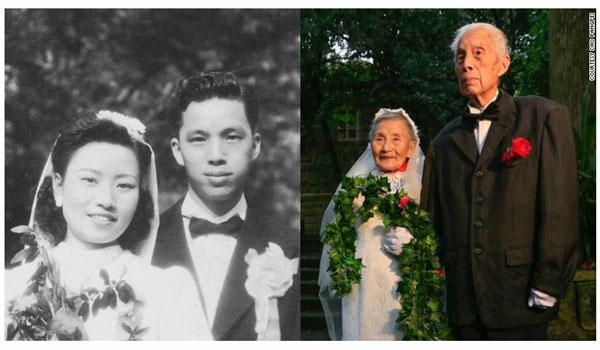 La même photo de mariage... 70 après