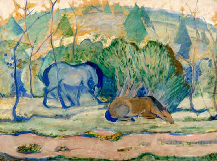 Franz Marc (1880-1916) Pferde auf der Weide (Chevaux au pâturage), 1910, Tempera sur papier collé sur carton, 61,5 x 82 cm Musée des Beaux-Arts / La Boverie, Liège © Musée des Beaux-Arts, Ville de Liège