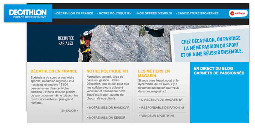 L'espace recrutement de Décathlon France