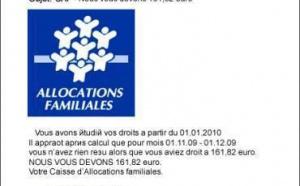 Caisses d'allocations familiales : mise en garde contre la circulation de faux e-mails